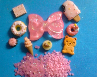 Sale sale--kawaii pink bow and sweets cabochon mix decoden deco diy # 512--USA seller
