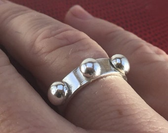 Bubble Statement Ring - Sterling Silver Ring - Mod Ring -Thick Ring Band - Stud Ring -Free shipping in US!