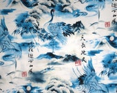 Cobalt Blue and White Japanese Cranes Print Pure Cotton Fabric--One Yard