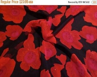 ON SALE Stunning Red on Black Floral Print Pure Silk Chiffon Fabric--One Yard