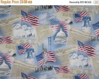 ON SALE USA Patriotic Print Pure Cotton Fabric--One Yard