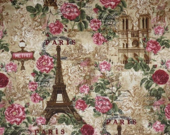 Wonderful Paris Roses in Sepia with Red and Pink Print Pure Cotton Fabric--One Yard