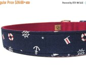 ON SALE Navy and Red Nautical Ahoy Matey Dog Collar