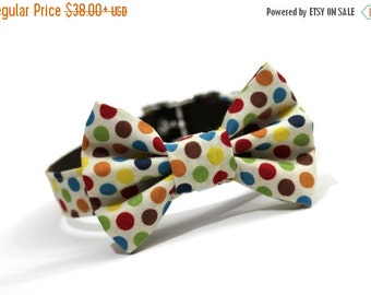 BIG SALE Dog Collar and Bow tie, Bowtie Dog Collar- Confetti Dots