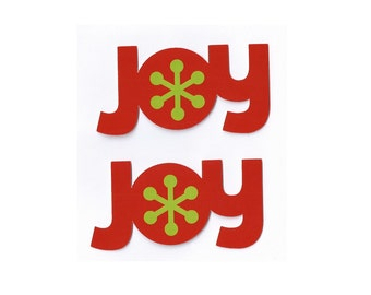 Christmas Die Cuts JOY set of 2 embellishments - scrapbook title card making red and green holiday season DIY craft supplies December cards