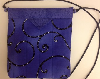 "Blue, Black and White Contemporary Quilted Fabric Snap Bag Purse Handbag Handmade 7-3/4"" X  8-3/4"""