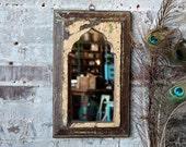Mirror Reclaimed Vintage Indian Door Panel Wall Hanging Art Distressed Jodhpur Yellow Green and Umber Color Mirror Moroccan Decor Turkish