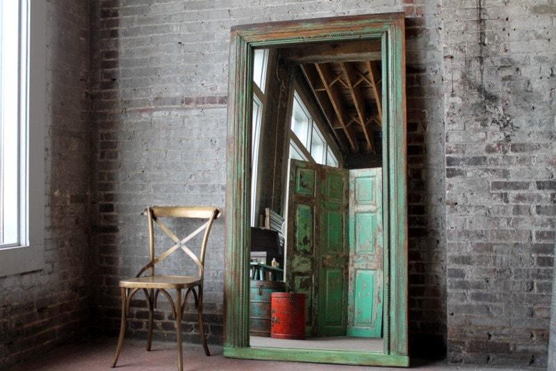 Large floor mirror antique indian architectural elements for Big floor mirror