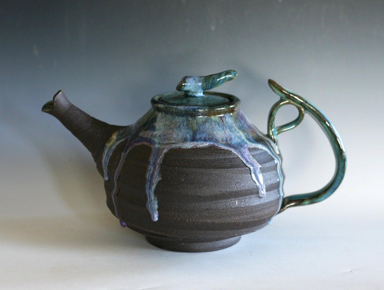 Ceramic Teapot Extra Large Holds 88 Oz Handmade Stoneware