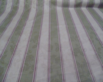 Waverly Fabric one yard, Melrose Stripe, Green, Ivory and lilac stripes, home decor fabric