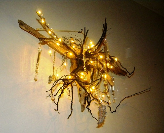 articles similaires lustre en bois flott arbre racine avec led guirlande lumineuse. Black Bedroom Furniture Sets. Home Design Ideas