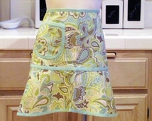 Heirloom Half Apron with Pocket: Cool Modern Paisley with Sea Mist or White Trim