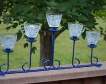 Blue Tea Light Candelabra with 5 Vintage Punch Cups