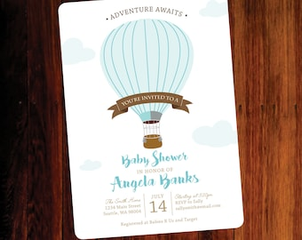 Hot Air Balloon Baby shower invitation - digital file, you print