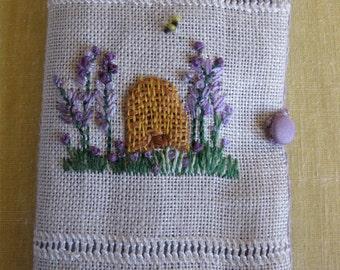Needlebook - Linen & Wool - Embroidered OOAK