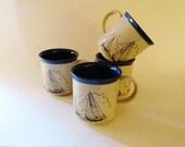 Nautical Stoneware Mugs, Set of Four Sailboat Mugs, Pottery Mugs, Coffee Mugs, Nautical Decor