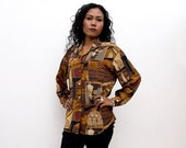 ON SALE Vintage 90s Shirt/90s Abstract Shirt/Oversized Brown Ochre Black Abstract Print Long Sleeve Shirt, Extra Large