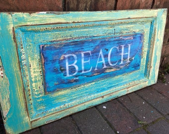 Beach House Sign Turquoise Coastal Style Decor Wall Art by CastawaysHall - Ready to Ship