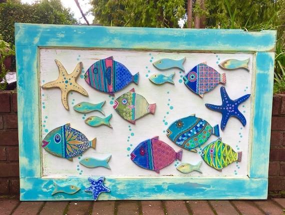Wood school of fish wall art headboard sign by castawayshall for School of fish wall art