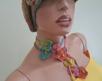 Crochet hat, and necklace