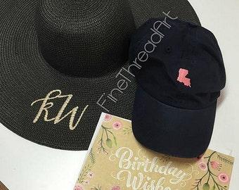 SALE LADIES Monogram Straw Black Beach Hat Floppy Derby Hat Bridesmaid Bride Bachelorette Summer