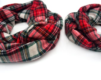 Girls Infinity Scarf -  Red - Toddler Scarf Set - Plaid Flannel - Huggable Harvest Collection - Adult Size Available