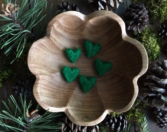 Felted wool hearts, set of 5, Kelly Green, green felt hearts, valentine teacher gift, green montessori color sorting, St Patricks Day green