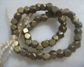 Solid Brass Beads: Small Faceted Spacer Beads, 3x3mm, 5 grams, 48 pcs.