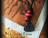 Handmade Necklace - Red Lampwork Beads and Bronze Heart