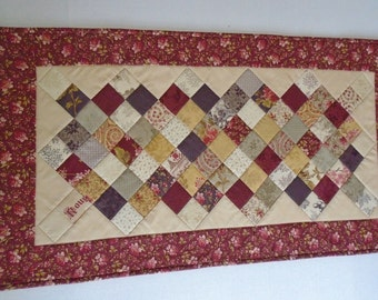 Elegant Quilted Table Runner, Floral Quilted Table Topper, Table Quilt, Dresser Quilt, Wine Theme, Patchwork Table Runner