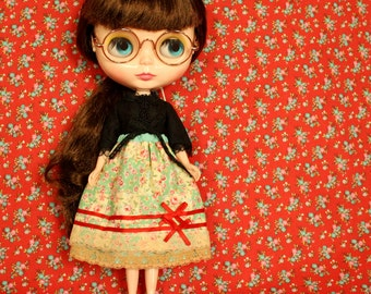 DREAM FIELD Vintage Inspired Patchwork Skirt for Neo Blythe