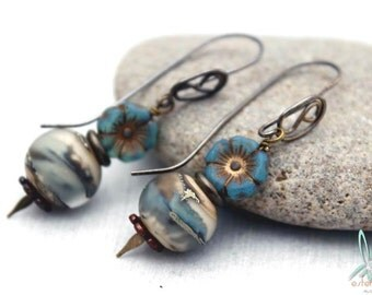 Hydrangea - Unique, handmade earrings in blue, gray and copper with handmade lampwork glass beads and earwires