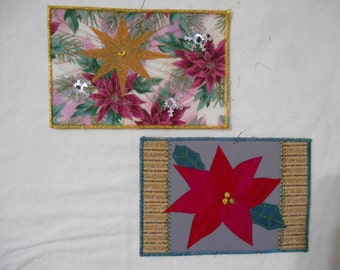 Pair of gold, red, green fabric postcards to use for Christmas greetings - Christmas star and poinsettia
