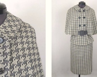 Vintage 60's 2 Piece Dress Suit Cape Jacket Gray and Cream Houndstooth Knit Size XS