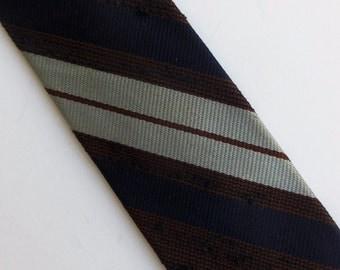 "Vintage 60's Skinny Tie Necktie Unique Brown and Dark Navy Blue Nubby Texture with Stripes Wembley  2"""