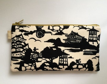 Black and White Japanese Ninja Fabric. Pencil Case, Pencil Pouch. Zipper Pouch.