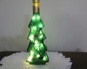 Exclusive Green Christmas Tree Wine Bottle Light, Bar Light, 21st Birthday