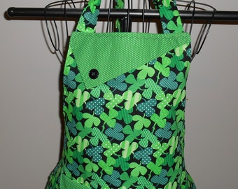 Striped and Polka Dot Shamrocks Women's Apron
