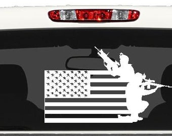 American flag decal, Military, patriotic decal, U.S.A. decal, U.S.A., Support our troops, vet decal, Soldiers in action, soldier shilouette