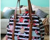 Vivan bag - DIAPER BAG - weekender bag - on the go bag - floral diaper bag - stripe diaper bag