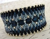 Denim Blue and Silver Super Duo Cuff Bracelet