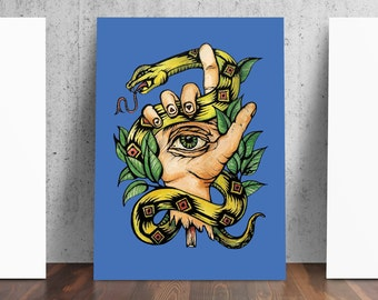 Hand Evil Eye Snake Laurel Art Print