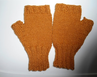 Adult Mens Fingerless Gloves.  L to XL Winter Gloves in Honey Brown