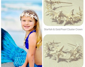 Pearl & Starfish Headband + Mermaid Crown + Beach Wedding Headpiece + Bridal Tiara + Fits Girls/Adults + Sea Queen + Silver + Ocean Vacation
