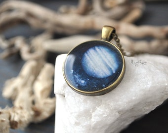 Jupiter planet necklace - Jupiter necklace, space jewelry, planet jewelry, long chain brass, astronomy planet galaxy jewelry - ready to ship