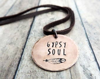 Gypsy Soul Necklace - Boho Jewelry - Feather Design - Stamped Jewelry - Hippie Necklace