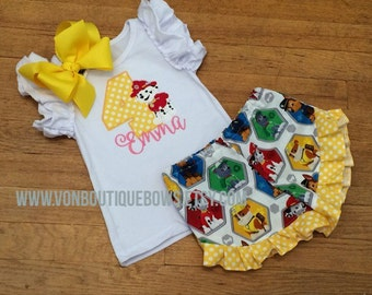 Birthday marshall puppy Bow yellow Ruffle Shorts Matching Boutique Hairbow 1st 2nd 3rd 4th Girls Short Long Sleeve Shirt Tank Top flutter