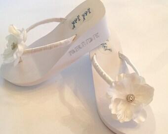"BRIDAL Flip Flops/Wedges.3"" Heel. Wedding Flip Flop /Sandals.Ivory Ribbon Wedding Shoes. Beach Wedding Shoes.Rhinestone Sandals."