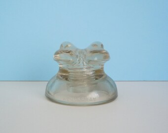 Vintage Hemingray Clear Glass Insulator #512 Frog Eyes