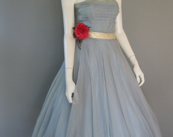 1950s Emma Domb Party Dress - 50s Blue and Ivory Prom Dress -XS